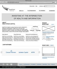 Wireframe of the HealthTech Capital website