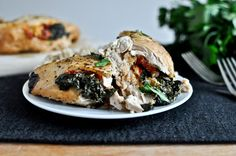 Crockpot Stuffed Chicken Breasts with Spinach, Roasted Red Pepper, Parmesan + Goat Cheese