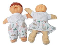 Cabbage Patch Doll Clothes Fits 14 Inch Girl Preemie Includes one Green Floral Skirt Ivory T Shirt No Doll
