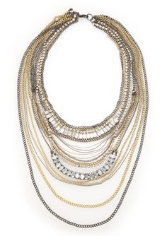 NURI 13 Row Mixed Metal Chain Necklace