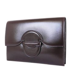 Vintage Hermes Brown Box Calf Clutch Bag 1980s | From a collection of rare vintage clutches at https://www.1stdibs.com/fashion/handbags-purses-bags/clutches/