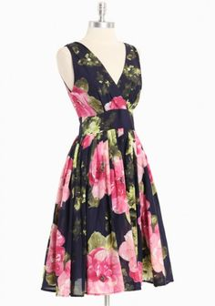 "DERBY DRESS! Gimme an awesome pink hat and stunning black heels and I'm so there.     ""Lisbon Navy Floral Dress"""