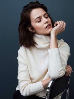 minimal necklace and oversized turtleneck