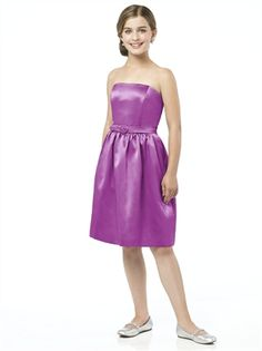 Strapless cocktail length with natural waist blet junior bridesmaid dress BD0182