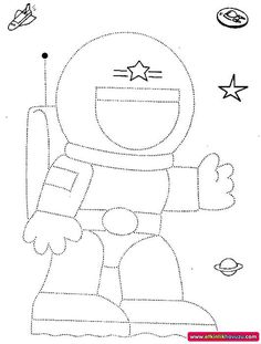 Crafts,Actvities and Worksheets for Preschool,Toddler and Kindergarten.Lots of worksheets and coloring pages. Astronaut Craft, Astronaut Drawing, Space Theme Preschool, Space Activities, Space Crafts For Kids, Art For Kids, Kids Crafts, Tracing Worksheets, Preschool Worksheets