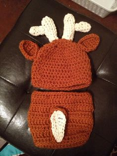 Newborn deer crochet hat and diaper cover by CreationsByBrit, $20.00