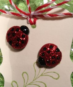 Danity Glittered Ladybug earrings post only. Grab a set before they fly away.. by RockinRobinsBling, $5.00