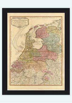 Vintage Map of The Netherlands Hollandia Holland 1794