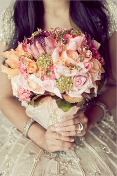 pink and gold bridal bouquet by Fabloomosity