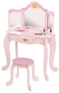 KidKraft Туалетный столик (трельяж) с зеркалом для девочки Принцесса  — 29850р.   KidKraft Туалетный столик (трельяж) с зеркалом для девочки Принцесса (Princess Vanity & Stool) это полноценный предмет мебели для девичьей детской комнаты.  Столик изготовлен в классическом стиле, дополнен фигурными ножками и рамкой зеркала с золотистой короной, а также узором на ящике с изящной ручкой.   Нежный розовый цвет изделия, наличие нескольких зеркал и круглого табурета, несомненно, понравится Вашей…