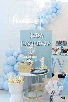 Check out this regal Mickey Mouse birthday party! Love the party decorations! See more party ideas and share yours at CatchMyParty.com Prince Party, Mickey Mouse Birthday, Dessert Tables, Party Ideas, Decorations, Desserts, Check, Tailgate Desserts, Deserts