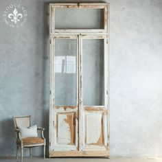 Rustic glass window doors in chipping white with bare wood. Reverse is cream…