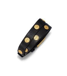 Wrap your wrist in our Double-Wrap Logo Stud Bracelet, done in leather and dotted with double 'T's in plated brass. Finished with a buckle, this polished accessory can add a hint of shine