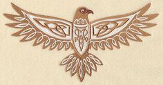 CELTIC KNOTWORK - HAWK - MACHINE EMBROIDERED QUILT BLOCK (AzEB)
