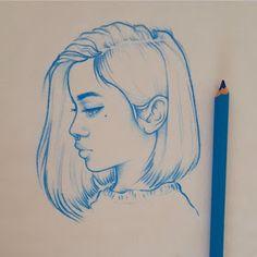 New illustrations, sketches and original art work by Rik Lee — Rik Lee Tumblr Drawings, Art Drawings Sketches, Cool Drawings, Pencil Drawings, Girl Pencil Drawing, Charcoal Drawings, Portrait Sketches, Rik Lee, Beginner Sketches