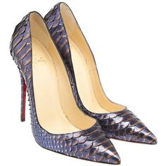 Christian Louboutin So Kate 120 Python Metal Blue & Silver Pumps, Size... ($793) ❤ liked on Polyvore featuring shoes, pumps, silver pointed toe pumps, christian louboutin pumps, silver pumps, pointed-toe pumps and blue stilettos
