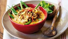 Thai red curry lentils - A fast and fabulous dish with la great deal of healthy fibre! Those with cholesterol should use low fat coconut milk, however. Veg Recipes, Baking Recipes, Vegetarian Recipes, Red Curry Lentils, Thai Red Curry, Curry In A Hurry, Healthy Fiber, Recipe Search, Dairy Free