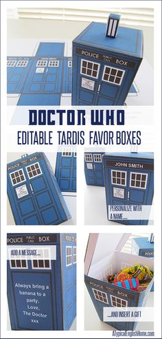 Last month I hurriedly assembled some Doctor Who printable TARDIS boxes to hold party favors for the kids at my son's birthday, (in a ditzy moment I'd forgotten that 9 year old boys still expect to go Doctor Who Birthday, Doctor Who Party, My Son Birthday, Doctor Who Gifts, Birthday Ideas, Birthday Message, Doctor Who Tardis, Eleventh Doctor, Birthday Parties