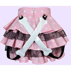 Pastel goth creepy cute honenuki BONES bondage strap RARA SKIRT ($54) ❤ liked on Polyvore featuring skirts, high-waist skirt, netted skirt, high-waisted skirts, net skirt and gothic skirts
