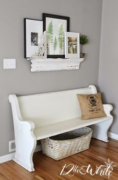 Savvy Southern Style: Favorite and White, love a great bench Pew Bench, Savvy Southern Style, Ikea, Country Style Homes, Christmas Home, Christmas Decor, Home Projects, Family Room, Family Wall