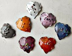 Art Jewelry Elements: February Component of the Month Challenge Reveal - Fluttering Hearts! Heart Jewelry, Jewelry Art, Jewellery, Vitreous Enamel, Enamel Jewelry, Beads And Wire, Sacred Heart, Jewelry Patterns, Jewelry Supplies