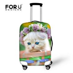 Cute Animal Cat Printing Luggage Protective Cover for 18-30 inch Suitcases Waterproof Luggage Covers Elastic Luggage Accessories