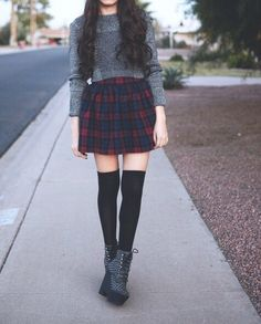 """Outfit of the day: HM cropped sweater, thrifted plaid skirt, Target knee high socks, JC Tardy, WHATEVS"""" beanie c/o ElizabethAudreyy Asian Fashion, Trendy Fashion, Winter Fashion, Fashion Outfits, Womens Fashion, Grunge Outfits, Grunge Fashion, Cropped Pullover, Cropped Sweater"""