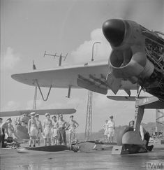 """""""New air screw has been fitted and engine test is made while repair crew stand by. February on board the repair carrier HMS Unicorn, at Trincomalee. Royal Navy Aircraft Carriers, Navy Carriers, War Image, Ww2 Planes, Ww2 Aircraft, Royal Air Force, Wwii, Fighter Jets, Aviation"""
