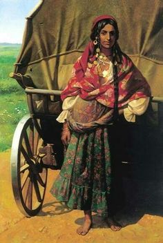 Gypsy with Wagon Painting Gypsy Girls, Gypsy Women, Gypsy Life, Gypsy Soul, Des Femmes D Gitanes, Gypsy Culture, Gypsy Caravan, Vintage Gypsy, Ludwig