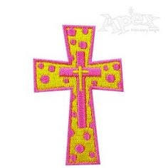 "Embroidery Designs Cross. Polka dotted cross. Size: 2.78"" x 1.80"""