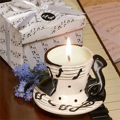 music theme teacup candle