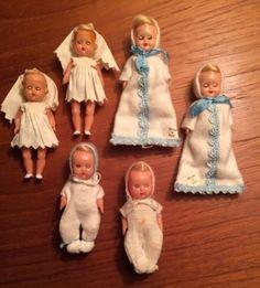 6 Vintage Celluloid Baby Dolls w/ Sleep Eyes - Dollhouse Family, Dollhouse Dolls, Miniature Dolls, Tiny Dolls, Old Dolls, Doll Display, Plastic Doll, Antique Toys, Doll Face