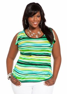 Ashley Stewart Women's Plus Size Striped Cold Shoulder Top - http://www.pincircles.com/tops-tees/ashley-stewart-womens-plus-size-striped-cold-shoulder-top/ #Fashion