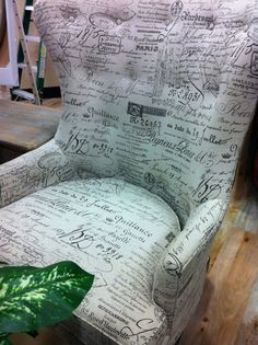 Need. This. Chair. ♥ Revenge Victoria Grayson Scripted Wingback Chair ♥