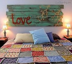 creative. I would hang it lower though so it looks more like a headboard and less like art.