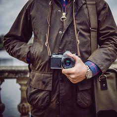 Barbour Beaufort, Hawkesmill Marlborough camera bag, Borough neck strap, Nikon and Rolex Yachtmaster. Barbour Boots, Barbour Mens, Barbour Jacket, Camera Neck Strap, Leather Camera Strap, Wax Jackets, Cool Jackets, Barbour Beaufort, Barbour Clothing