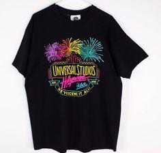 Vintage Universal Studios Hollywood Sz XL 80s 90s Fireworks T Shirt Cotton USA #UniversalStudios #BasicTee
