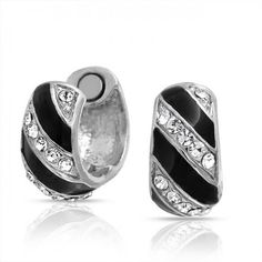 Bling Jewelry Crystal Reversible Black Striped Magenetic Huggie Earrings Clip On Cheap Jewelry, Bling Jewelry, Jewelry Sets, Contemporary Jewellery, Clip On Earrings, Black Stripes, Birthstones, Piercing, Rings For Men