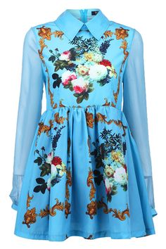 Sheer Sleeves Scarf Print Dress(Arrival on October 6th)  $41.99
