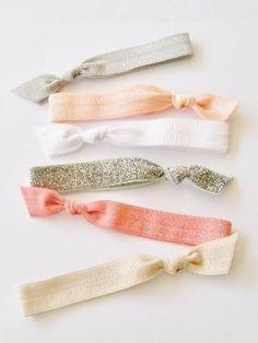 6 Hair Ties, Glitter Peach By Lucky Girl Hair Ties