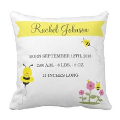 Cute Bumble Bee Baby Birth Announcement Pillow