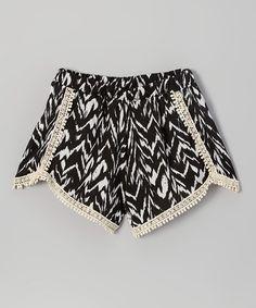 Look what I found on #zulily! Black & White Geometric Crochet-Trim Shorts #zulilyfinds