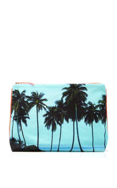 Maldives Aqua Palms Small Canvas Pouch by Dezso by Sara Beltran Now Available on Moda Operandi