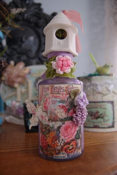 Hey, I found this really awesome Etsy listing at https://www.etsy.com/listing/100045198/vintage-look-altered-bottle-mixed-media