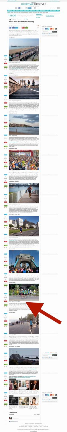 Huffington Post - Ten Cities Made for Running Red Arrow, Cities, Running, Racing, Keep Running, City, Track