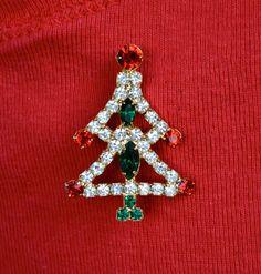 Rhinestone Christmas Tree Vintage Pin by HighClassHighway on Etsy, $14.00