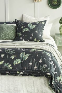 botaniska charcoal comforter | biancalorenne.co.nz Cotton Comforters, Comforters, Charcoal, Duvet, Home Decor, Inspiration, Duvet Covers, Pillow Cases, Sophisticated