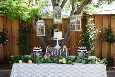 Sweet table from a Rustic Lemon Themed Baby Shower on Kara's Party Ideas | KarasPartyIdeas.com (9)