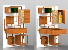 Concept for a multi-function cat climbing wall.  Love it!