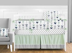 Sweet Jojo Designs Fitted Crib Sheet for Grey, Navy Blue and Mint Woodland Arrow Baby& Bedding Set Collection - Arrow Print Woodland Baby Bedding, Baby Boy Crib Bedding, Baby Boy Cribs, Nursery Bedding Sets, Pink Bedding, Bedding Shop, Comforter Sets, Woodland Bedroom, Neutral Bedding